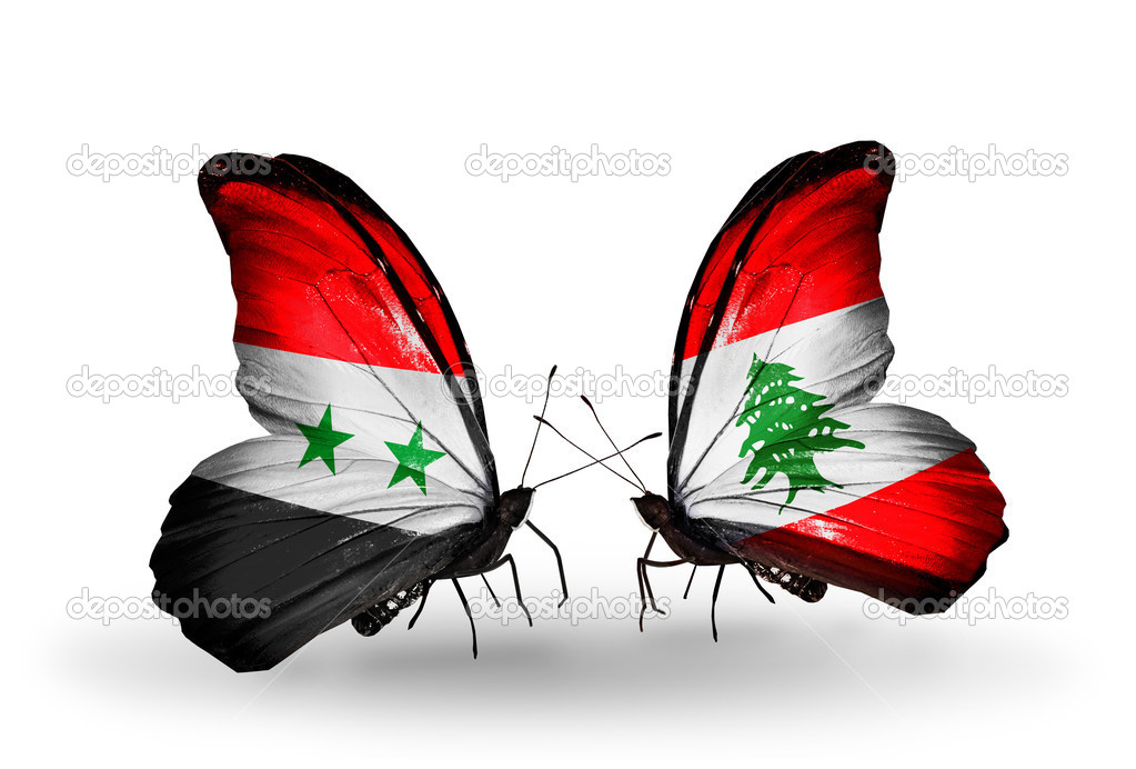 Two butterflies with flags on wings as symbol of relations Syria and Lebanon